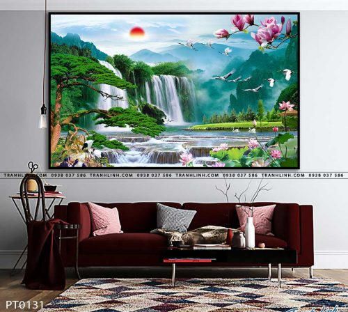 tranh in canvas phong canh phong thuy pt0131