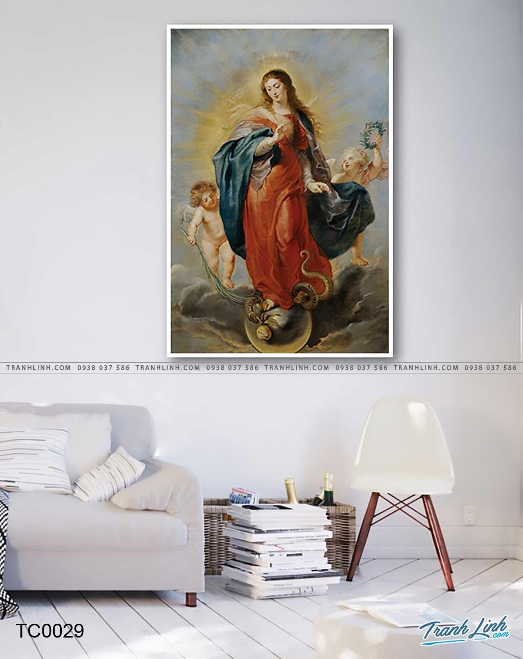 tranh canvas duc me maria vo nhiem nguyen toi