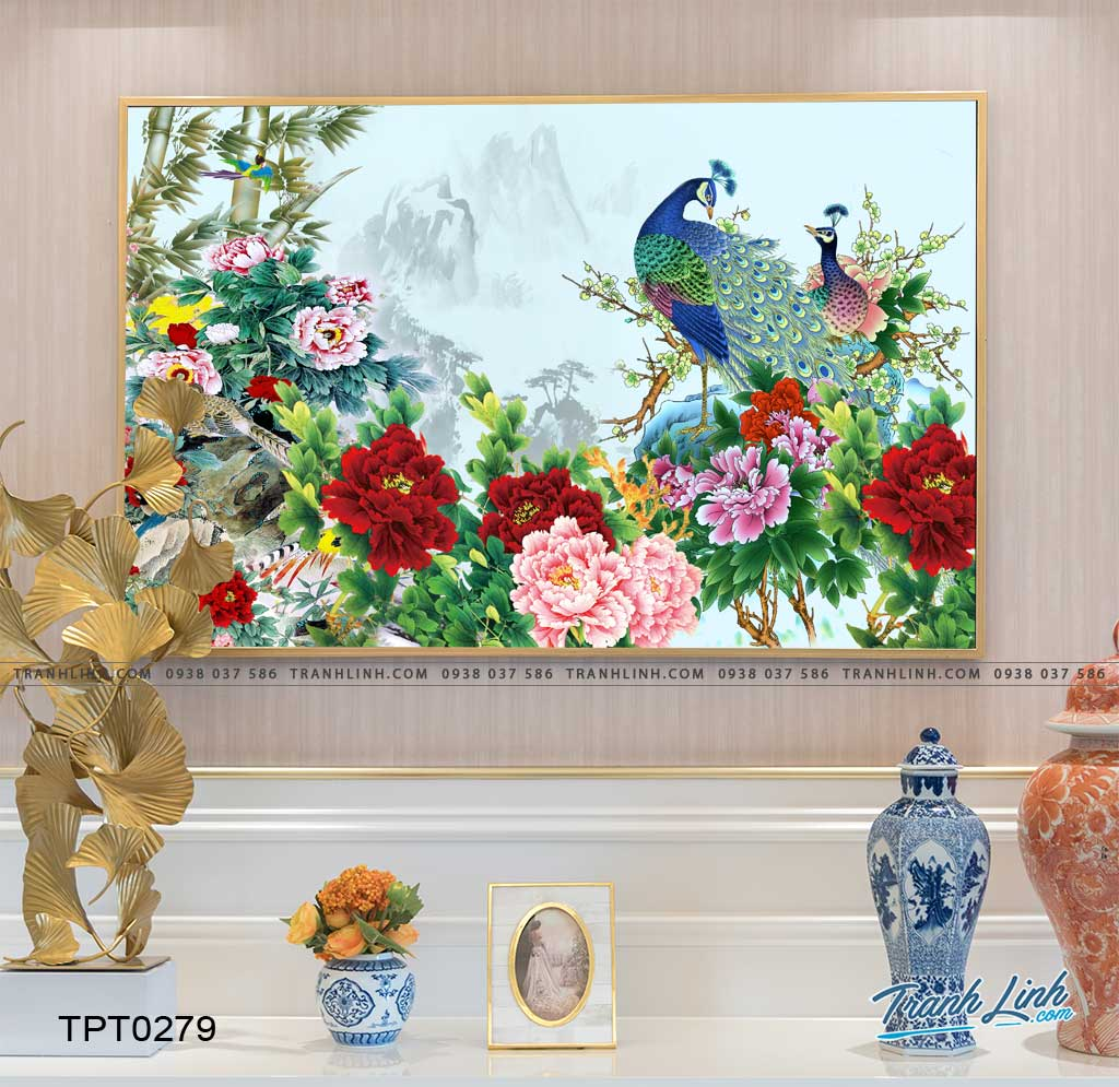 tranh canvas chim cong vuong gia 12