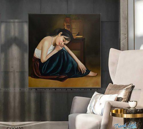 tranh canvas co gai 450