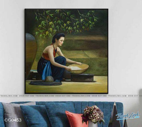 tranh canvas co gai 453