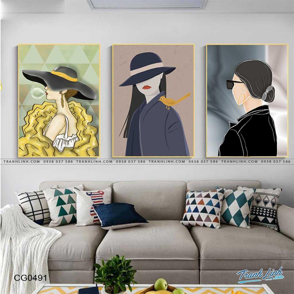 tranh canvas co gai 491