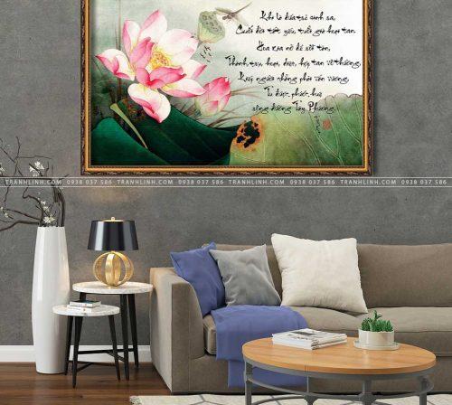 tranh canvas hoa sen 2