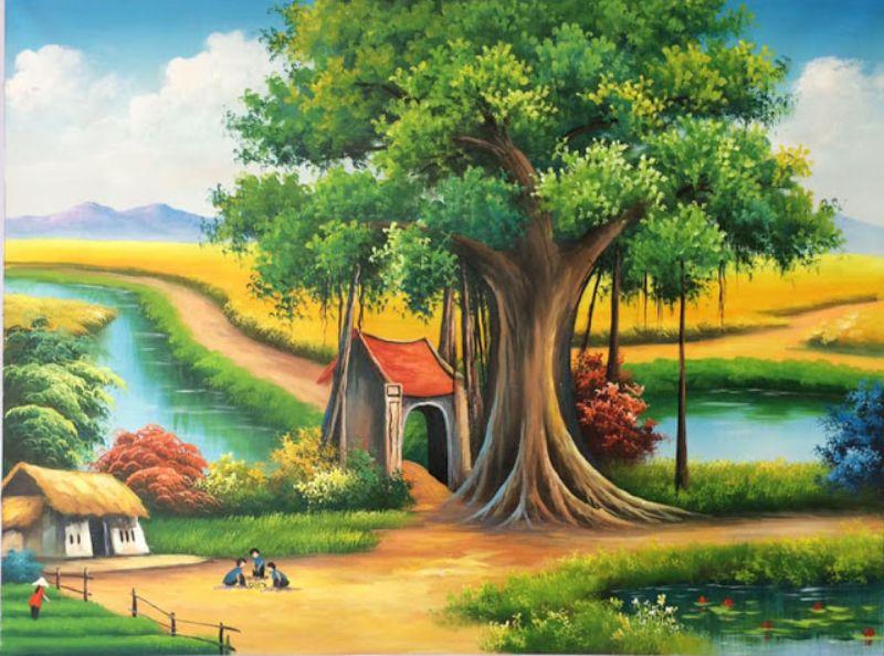cách vẽ tranh phong cảnh làng quê bằng bút chì
