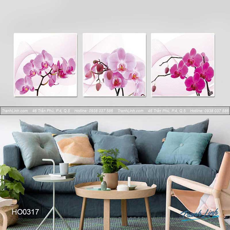 Bức tranh với hoa phong lan vô cùng đẹp