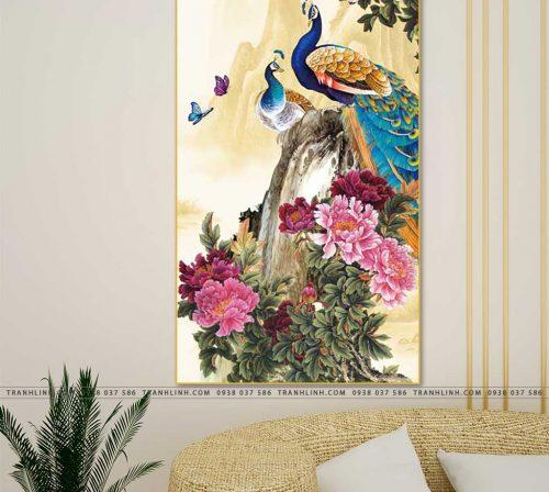 tranh chim cong hoa mau don 14