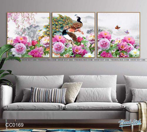 tranh chim cong hoa mau don 16