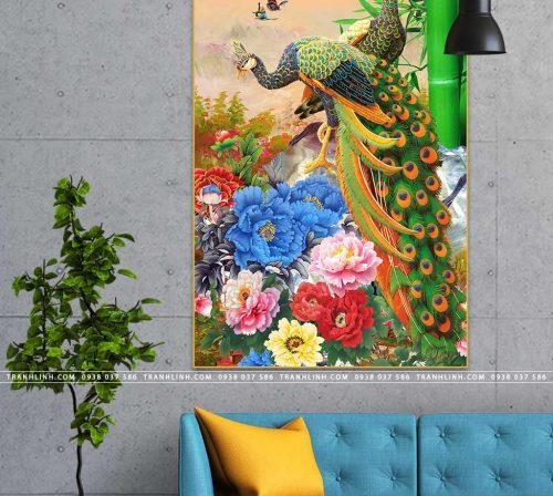tranh chim cong hoa mau don 26