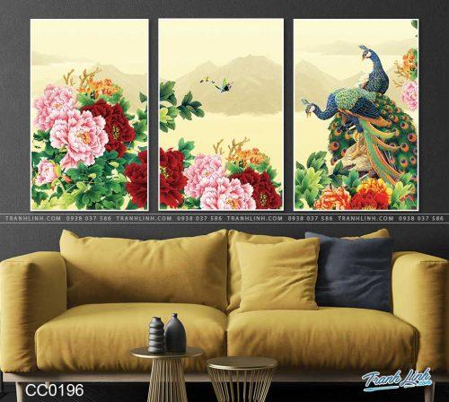 tranh chim cong hoa mau don 29
