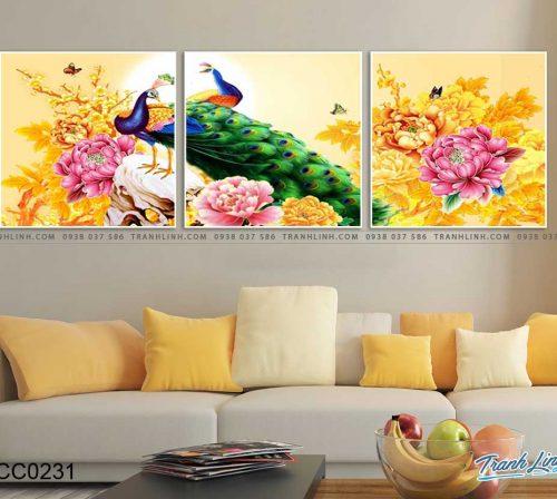tranh chim cong hoa mau don 37