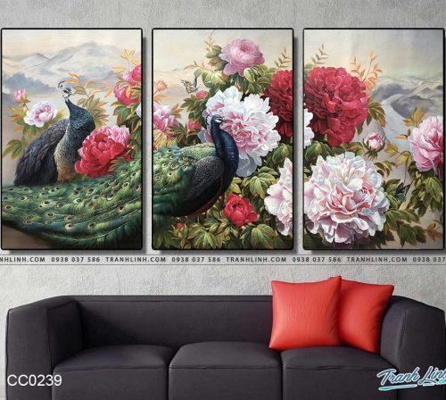 tranh chim cong hoa mau don 38