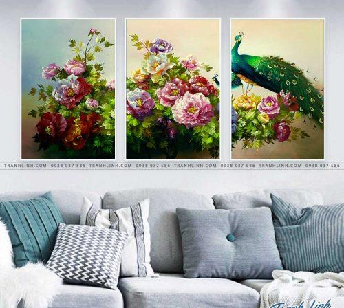 tranh chim cong hoa mau don 39