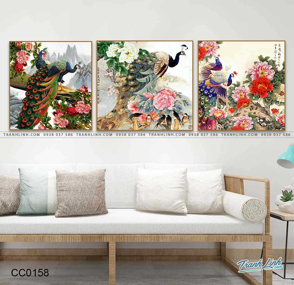tranh chim cong hoa mau don 9