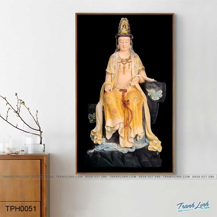 Bức tranh Quan Thế Âm Bồ Tát thiền trên đá đem lại cảm giác bình yên cho người xem