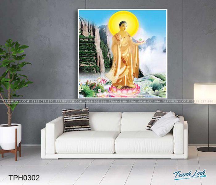 Bức ảnh tượng Phật A Di Đà tại chốn cực lạc mang đến không khí thanh tịnh, thư thái cho căn nhà của bạn. Đức Phật từ bi sẽ chở che, bảo vệ cho gia đình gia chủ trước mọi khó khăn phía trước. Bức tranh được vẽ trên chất liệu vải Canvas nên rất dễ bảo quản và hình ảnh, màu sắc rất sắc nét.