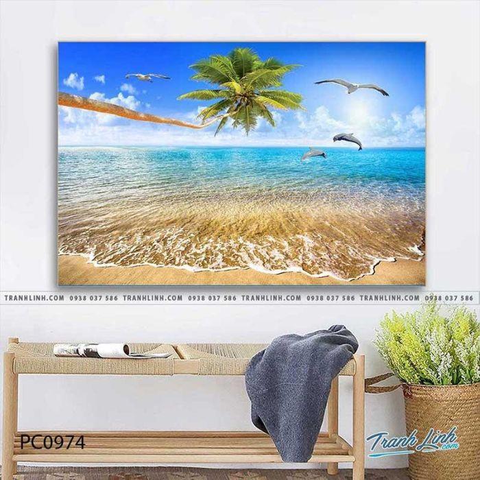 Tranh phong cảnh biển dưới nắng hè đem lại không gian mát mẻ, trong trẻo cho ngôi nhà của bạn