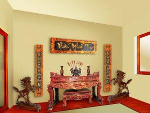 tranh treo trên bàn thờ gia tiên